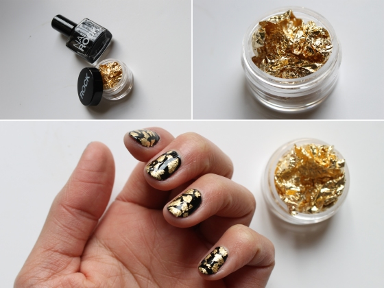 nail-rock-black-polish-golden-foil