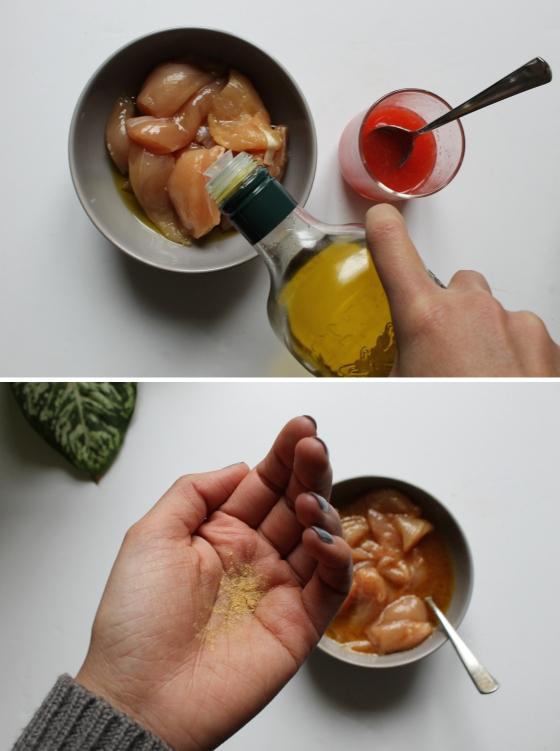 marinade de poulet orange sanguine huile d'olive gingembre