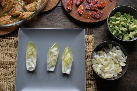 Salade de poulet orange sanguine avec endives et avocat-4