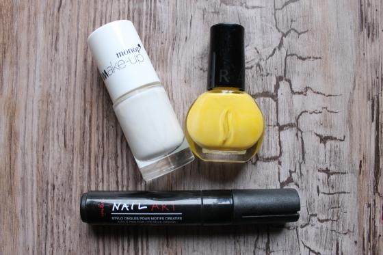 vernis blanc monoprix-vernis jaune sephora-nail art pen agnesb